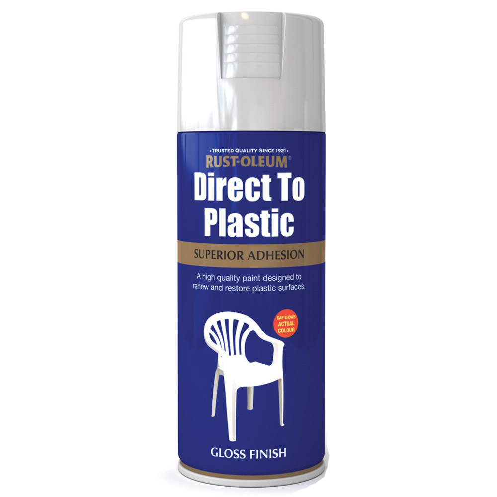 rust oleum direct to plastic white gloss spray paint 400ml ebay. Black Bedroom Furniture Sets. Home Design Ideas