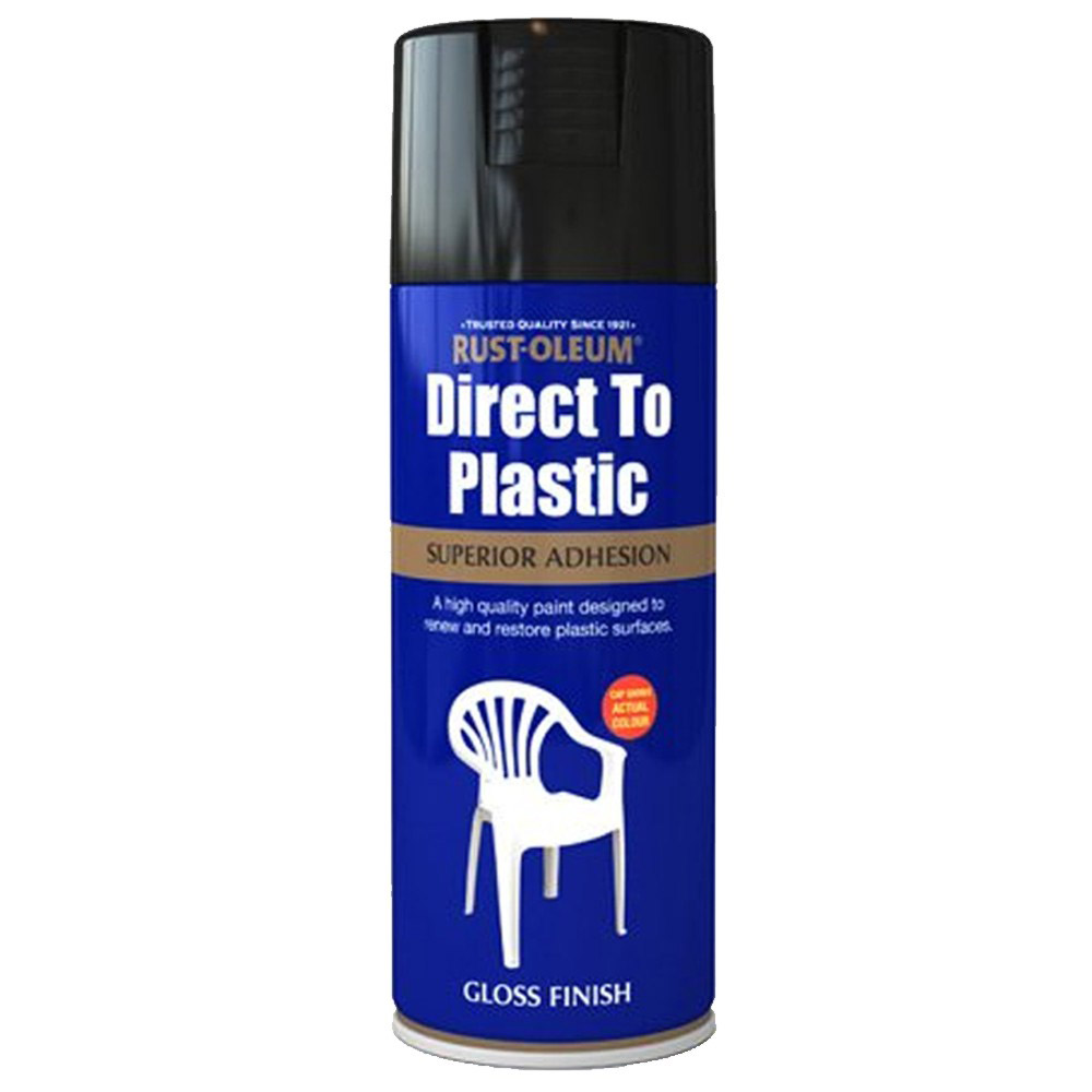 Rust Oleum Direct To Plastic Black Gloss Spray Paint 400ml