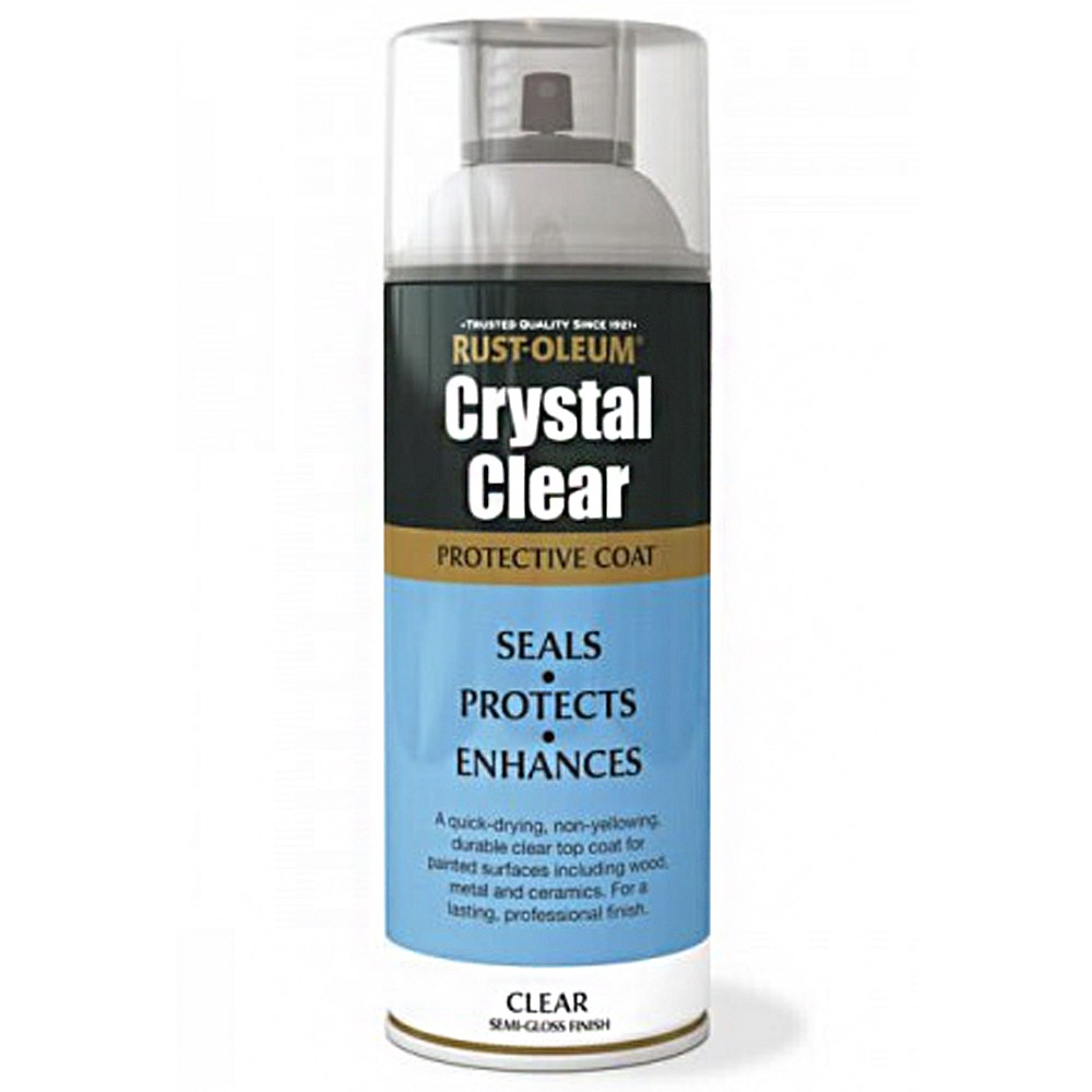 Rust Oleum Crystal Clear Semi Gloss Spray Paint Protective Top Coat 400ml Ebay