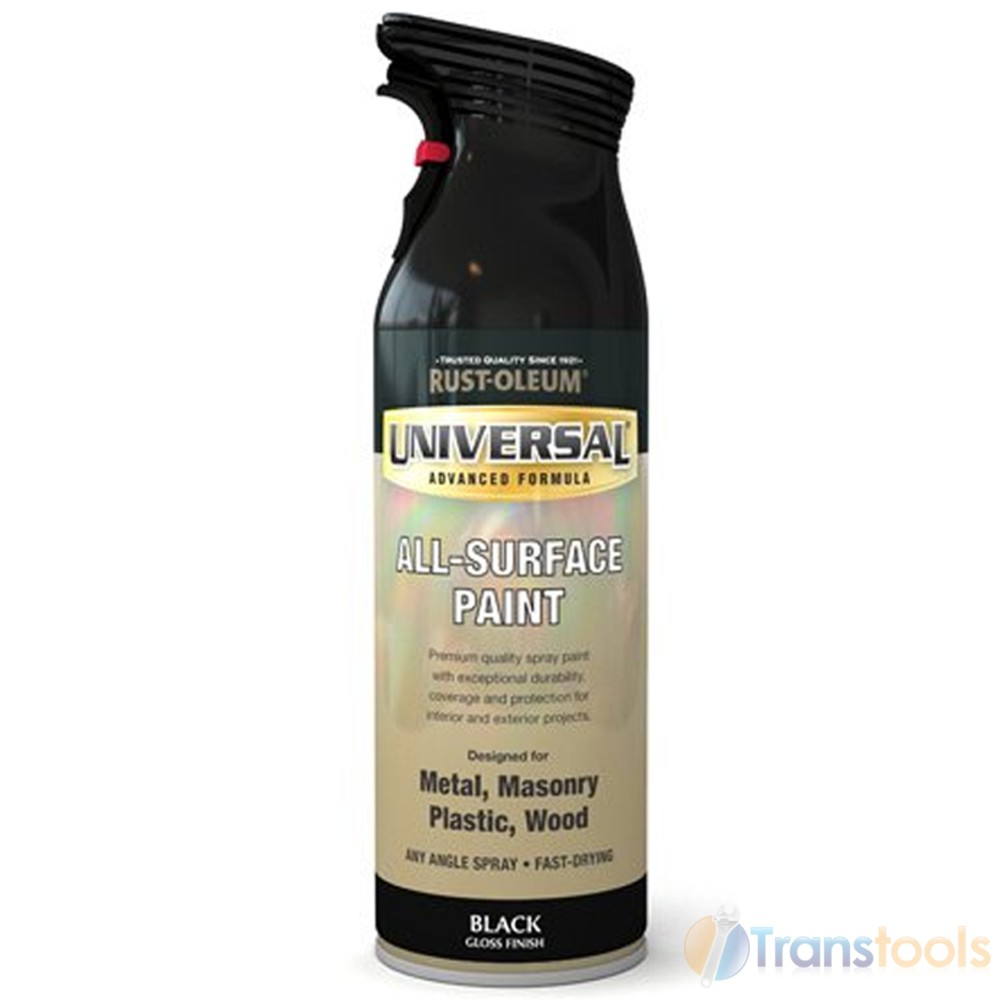Rust Oleum Universal All Surface Black Gloss Spray Paint 400ml Ebay