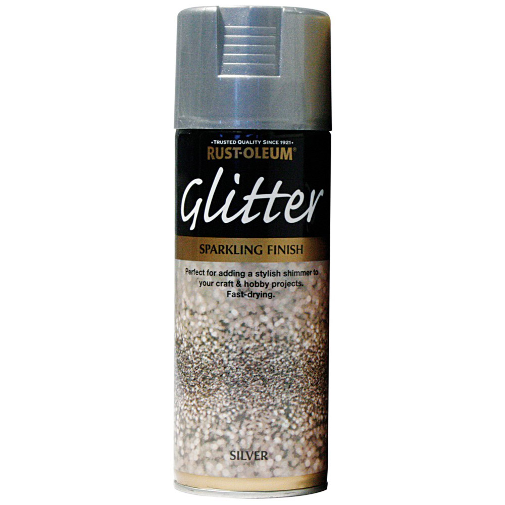 rust oleum glitter particle spray paint silver sparkling finish. Black Bedroom Furniture Sets. Home Design Ideas