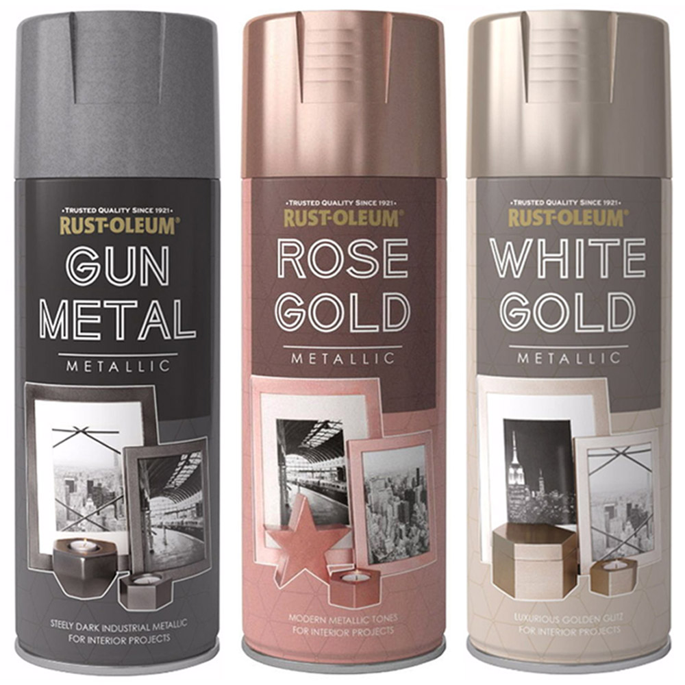 Rust Oleum 400ml Metallic Finish Spray Paint Gun Metal Rose Gold White Gold Ebay
