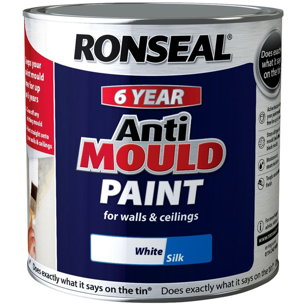 Ronseal 6 Year Anti Mould White Silk Paint for Walls and ...