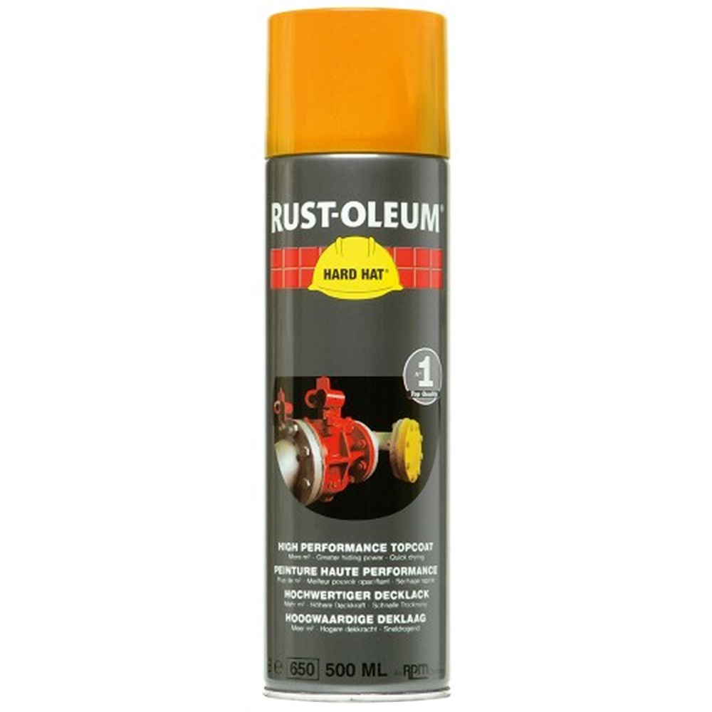 Rust Oleum Ral1003 Hard Hat Topcoat Aerosol Spray Paint Signal Yellow 500ml Ebay