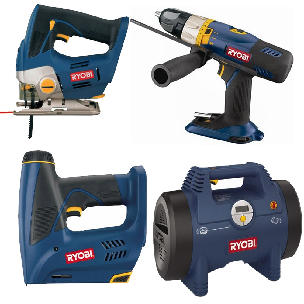 ryobi cordless 18v one plus combi drill driver jigsaw stapler air inflator ebay. Black Bedroom Furniture Sets. Home Design Ideas