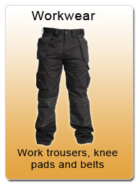 Workwear - Work trousers, knee pads and belts