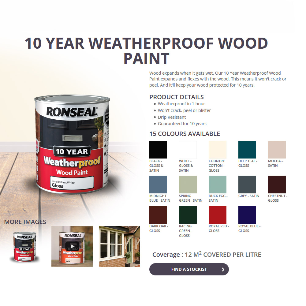 Ronseal 10 year weatherproof wood paint 750ml satin gloss all colours ebay - Exterior wood paint colours uk concept ...
