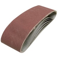 Silverline Cloth Sanding Belts 75mm x 533mm 80 Grit - 5 Pack