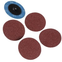 Silverline Twist Button 50mm Sanding Discs 80 Grit - 5 Pack