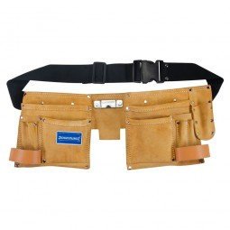 Silverline Leather Double Tool Pouch and Belt - 10 Pocket