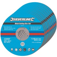 Silverline Metal Cutting Discs Flat 115mm x 22.2mm - 10 Pack