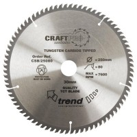 Trend Circular Craft Saw Blade ATB 250mm x 80 Teeth x 30mm