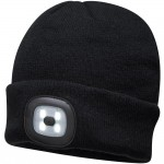 Portwest Beanie Hat with Rechargeable LED Head Light Black