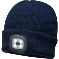 Portwest Beanie Hat with Rechargeable LED Head Light Blue