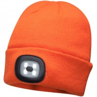 Portwest Beanie Hat with Rechargeable LED Head Light Orange