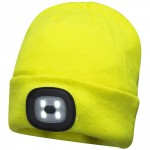 Portwest Beanie Hat with Rechargeable LED Head Light Yellow