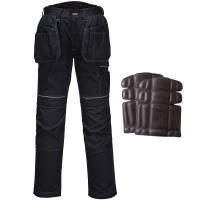 Portwest Urban Holster Work Trousers Black 32W 31-33L - Free Knee Pads