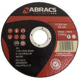 Abracs Professional Metal Slitting Cutting Thin Discs 115mm x 1mm
