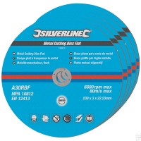 Silverline Metal Cutting Discs Flat 230mm x 22.2mm - 5 Pack