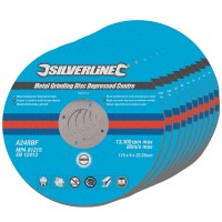 Silverline Metal Grinding Discs Depressed Centre 115mm x 22mm 10 Pack