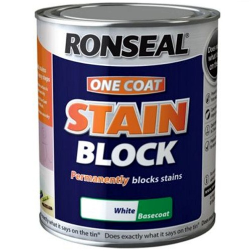 ronseal one coat stain block paint white 750ml. Black Bedroom Furniture Sets. Home Design Ideas