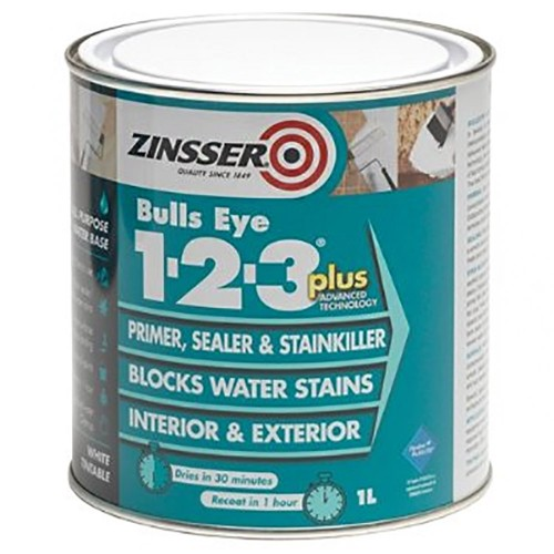 Zinsser bulls eye 1 2 3 plus primer sealer stain killer 1 litre - Zinsser exterior paint pict ...