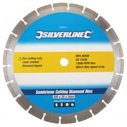 Silverline Sandstone Diamond Cutting Blade Disc 300mm x 20mm
