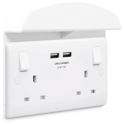 British General 13A Switched Double Socket with 2 USB Ports and Support Shelf