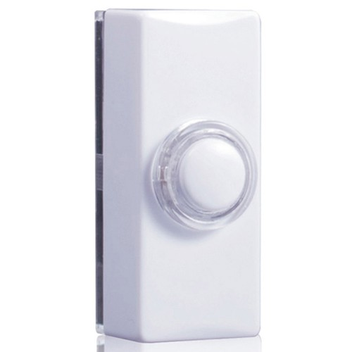 Byron 7730 glow door bell push white for Door bell push