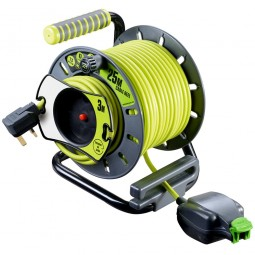 Masterplug IP Rated Reverse Cable Reel with Pull Out Socket - 25 Metres