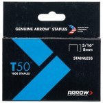 Arrow T50 and T55 Stainless Steel Staples 8mm - 1000 Pack