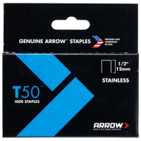 Arrow T50 and T55 Stainless Steel Staples 12mm - 1000 Pack