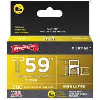 Arrow T59 Insulated Wire Tacker Staples 6mm x 6mm Clear - 300 Pack