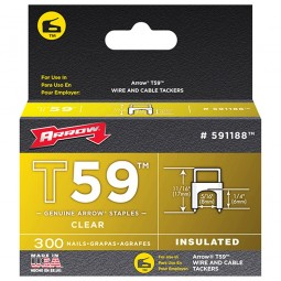 Arrow T59 Insulated Wire Tacker Staples 6mm x 8mm Clear - 300 Pack
