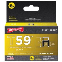 Arrow T59 Insulated Wire Tacker Staples 6mm x 8mm Black - 300 Pack