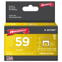 Arrow T59 Insulated Wire Tacker Staples 8mm x 8mm Clear - 300 Pack
