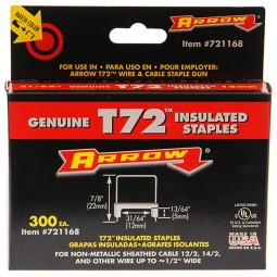 Arrow T72 Hardwood Insulated Cable Staples 12mm x 5mm - 300 Pack