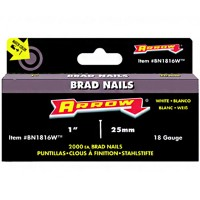 Arrow BN18 Brad Nails White 18 Gauge 25mm - 2000 Pack