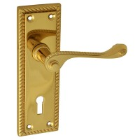 Forge Backplate Handle Lock 152mm Georgian Brass Finish