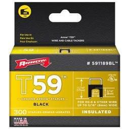 Arrow T59 Insulated Wire Tacker Staples 8mm x 8mm Black - 300 Pack