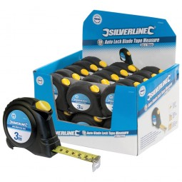 Silverline Auto Blade Lock Tape Measures 3 Metres x 16mm - 30 Pieces
