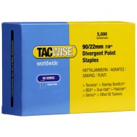 Tacwise Type 90 Narrow Crown Staples Divergent Point 22mm - 5000 Pack