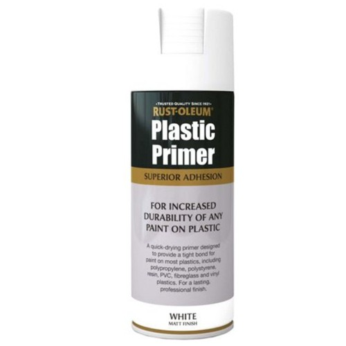 Rust Oleum Plastic Primer White Matt Spray Paint 400ml
