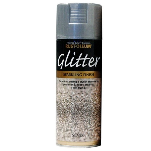 rust oleum glitter spray paint silver sparkling finish 400ml. Black Bedroom Furniture Sets. Home Design Ideas