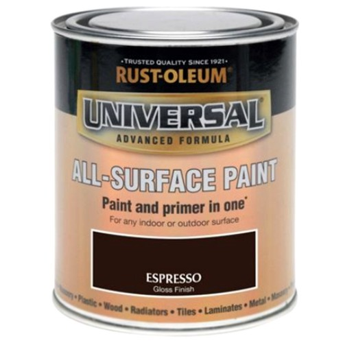 Rust Oleum All Surface Brush Paint And Primer Espresso Brown Gloss 750ml