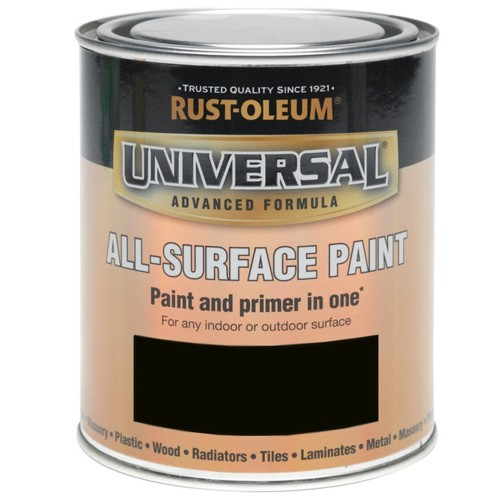 Rust Oleum All Surface Brush Paint And Primer Black Matt 250ml