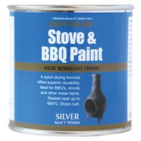 Rust-Oleum Stove and BBQ Heat Resistant Brush Paint 650 Degrees Silver - 250ml