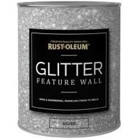 Rust-Oleum Clear Glaze Glitter Feature Wall Paint Silver - 1 Litre