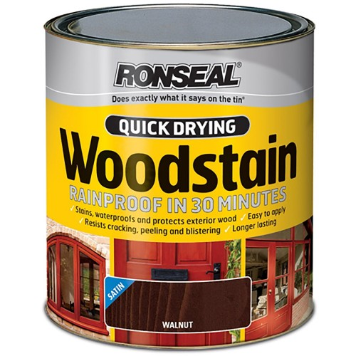 Ronseal Quick Drying Exterior Satin Woodstain Walnut 750ml