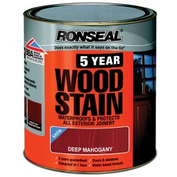 Ronseal 5 Year Woodstain Protect and Colour 750ml - Deep Mahogany